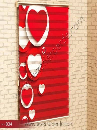 Poster Baskılı  Zebra Perde  SZR- 1094 Kırmızı Kalp Desen