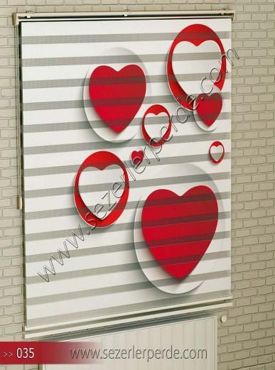 Poster Baskılı  Zebra Perde  SZR- 1095 Kalp Desen