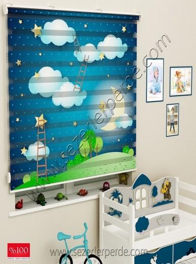 Poster Baskılı  Zebra Perde  SZR-1001 Bulut Desen