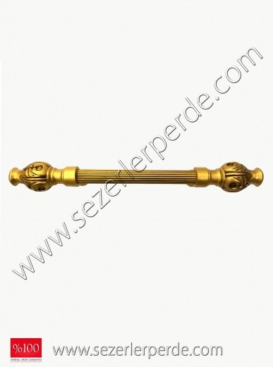 Rustik Perde Atlas Altın İşlemeli EN:100CM