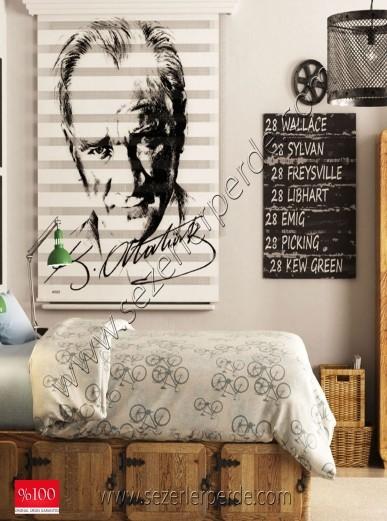 Poster Baskılı  Zebra Perde  SZR-1013 M.Kemal Atatürk
