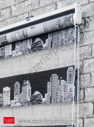 Jakarlı Zebra Perde Siyah City