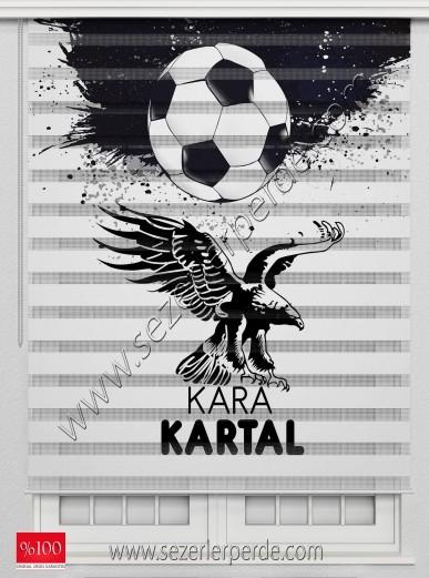 Poster Baskılı  Zebra Perde  SZR-1040 Beşiktaş Kara Kartal