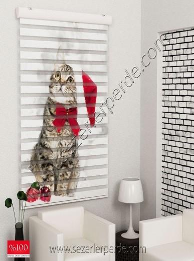 Poster Baskılı  Zebra Perde  SZR-1017 Sevimli Kedicik