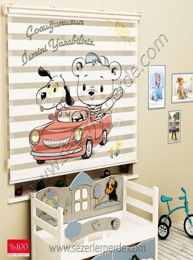 Poster Baskılı  Zebra Perde  SZR-1050 Kırmızı Araba
