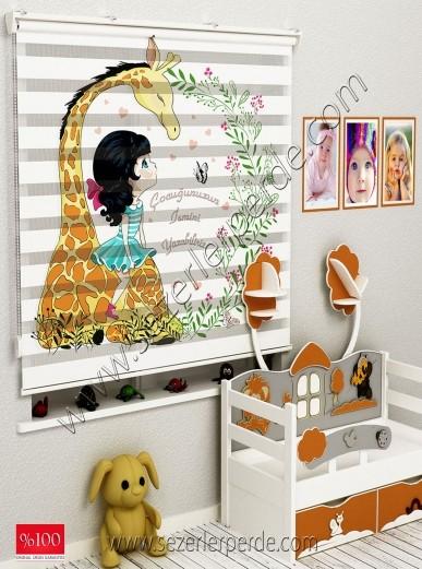 Poster Baskılı  Zebra Perde  SZR-1052 Sevimli Zürafa