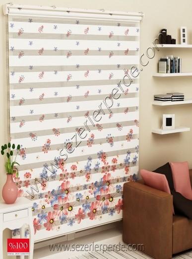 Poster Baskılı  Zebra Perde  SZR-1059 Renkli Çiçek