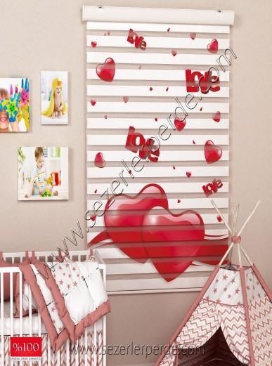 Poster Baskılı  Zebra Perde  SZR-1069 Kırmızı Kalp Desen