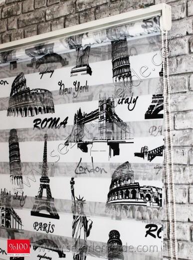 Baskılı Zebra Perde Siyah Paris