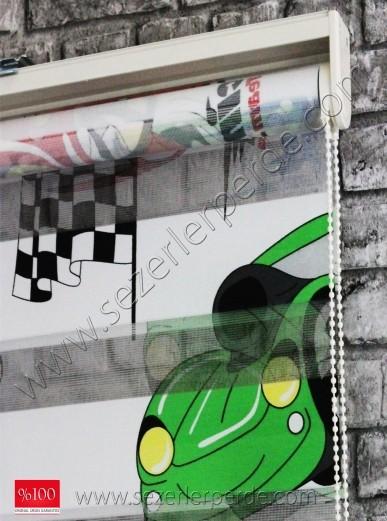 Baskılı Zebra Perde Racing Car