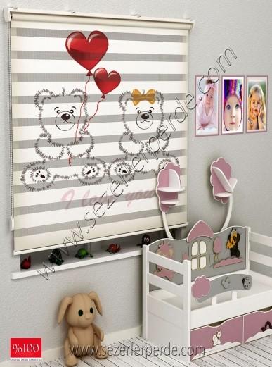 Poster Baskılı  Zebra Perde  SZR- 1021 Sevimli Ayıcık