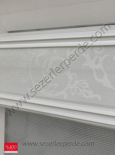 Jakarlı Zebra Perde Jakar 601 Kırık Beyaz(Simsiz)