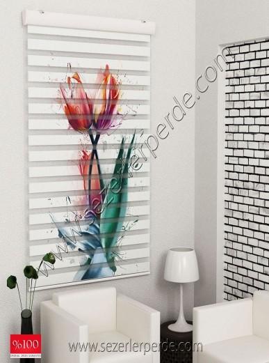 Poster Baskılı  Zebra Perde  SZR-1022 Renkli Lale