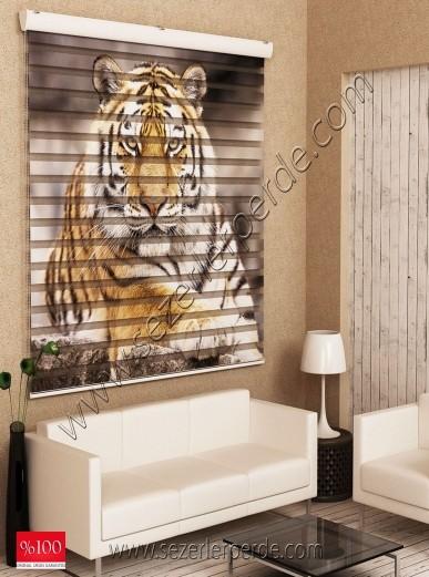 Poster Baskılı  Zebra Perde  SZR-1023 Kaplan