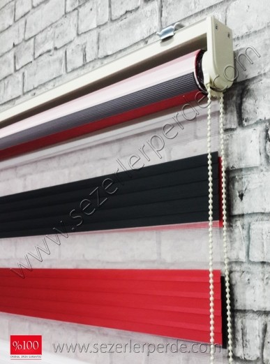 Pliseli Zebra Perde Siyah Kırmızı Mix