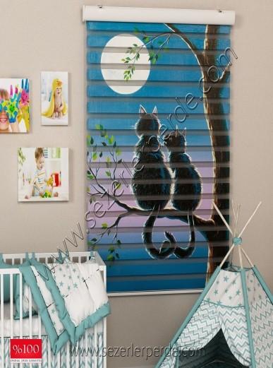 Poster Baskılı  Zebra Perde  SZR-1027 Kedicik