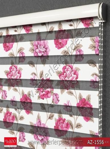 Baskılı Zebra Perde Çiçek Desen AZ1556