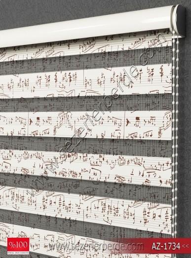 Baskılı Zebra Perde Müzik Notaları