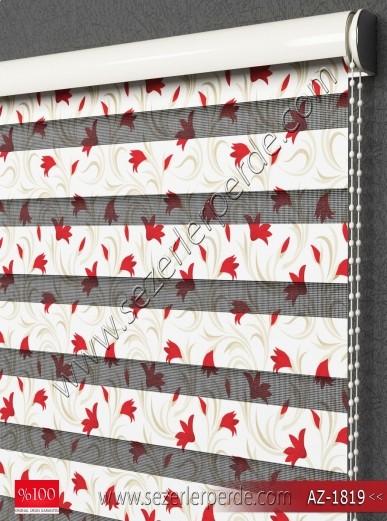 Baskılı Zebra Perde Kırmızı Çiçekler