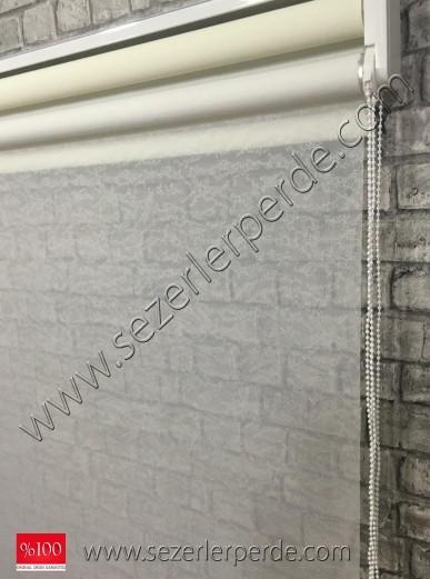 Çiftli Sistem Tülstor Desen 01 Kırık Beyaz