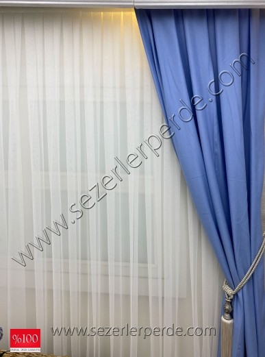 70x260 Pileli  Düz Fon Perde Açık Mavi (ÇİFT KANATTIR)