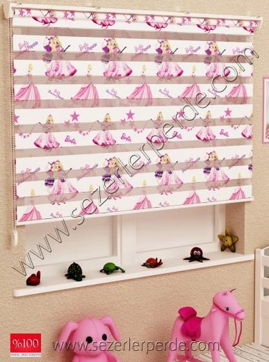 EN: 70 BOY: 200 Baskılı Zebra Perde Barbie Bebek