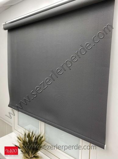 Orjinal PVC Screen Stor Perde Koyu Gri