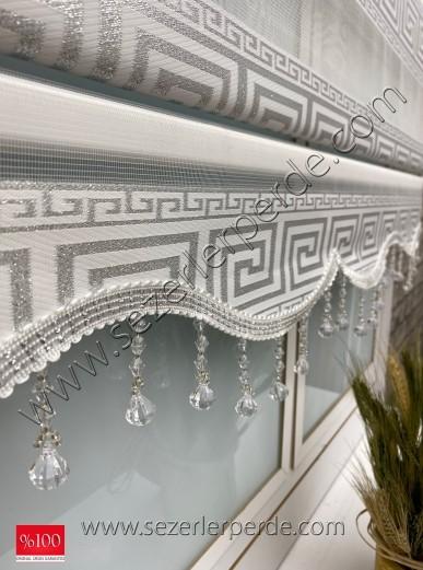 Jakarlı Zebra Perde Yeni Sezon Versace Gümüş