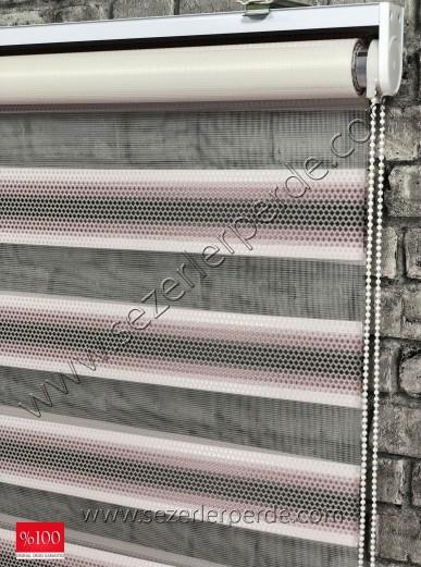 Bambu Zebra Perde Brode Pembe-Siyah Geçişli