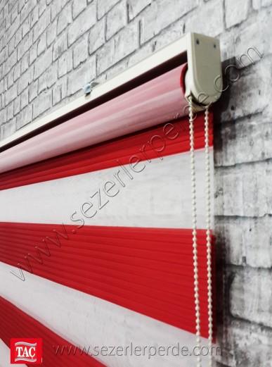 Pliseli Zebra Perde Kırmızı