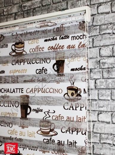 Baskılı Zebra Perde Cappucino Kahve