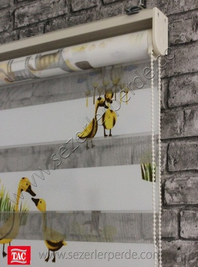 Baskılı Zebra Perde Sarı Ördek