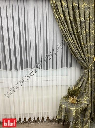 Jakarlı Fon Perde Özel Seri Granit Sarı -Antrasit 67686 V-14