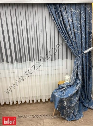 Jakarlı Fon Perde Özel Seri Granit Koyu Mavi 67686 V-16